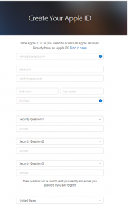 display of create Apple ID