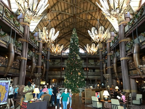 Entrance lobby at Animal Kingdom Lodge Hotel