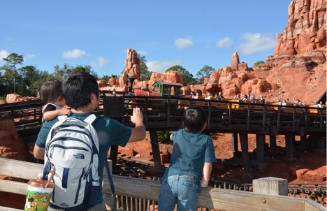 Cheering to mother at Big Thunder Mountain Railroad