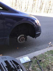 Flat tire was removed.